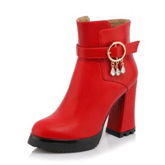 Women's Leatherette Chunky Heel Pumps Boots Ankle Boots With Rhinestone shoes