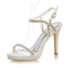 Women's Satin Stiletto Heel Peep Toe Platform Sandals Slingbacks With Buckle Rhinestone