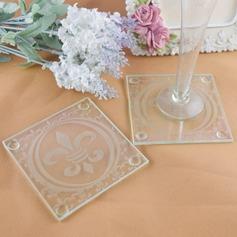 """Fleur-de-Lis"" Glass Coaster"