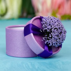 Classic Cylinder Favor Boxes With Flowers (Set of 12)