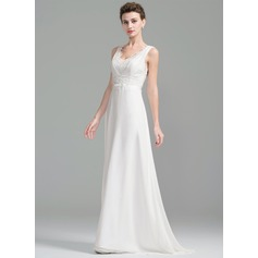 A-Line/Princess V-neck Sweep Train Chiffon Lace Wedding Dress With Ruffle Beading Sequins Bow(s)