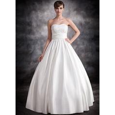 Corte de baile Escote corazón Hasta el suelo Satén Vestido de novia con Volantes Encaje