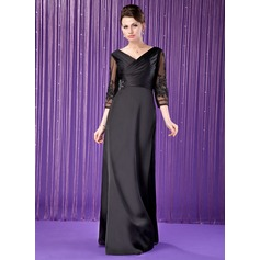 A-Line/Princess V-neck Floor-Length Satin Chiffon Mother of the Bride Dress With Ruffle Lace Beading