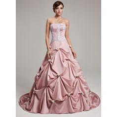 Duchesse-Linie Trägerlos Hof-schleppe Satin Quinceañera Kleid (Kleid für die Geburtstagsfeier) mit Rüschen Spitze Blumen