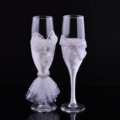 Toasting Flutes With Faux Pearl