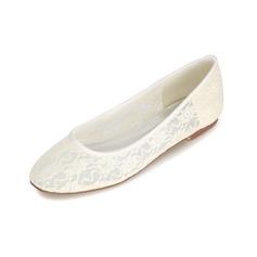 Women's Lace Low Heel Closed Toe Flats
