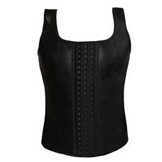 Men's Black Rubber Front Busk Closure Vest