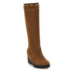 Women's Suede Wedge Heel Wedges Mid-Calf Boots With Zipper shoes