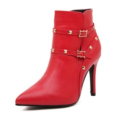 Leatherette Stiletto Heel Pumps Closed Toe Boots Ankle Boots With Rivet Buckle shoes