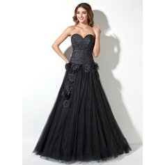 A-Line/Princess Sweetheart Floor-Length Taffeta Tulle Quinceanera Dress With Ruffle Beading Flower(s)
