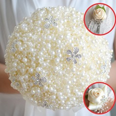 Lovely Round Satin/Rhinestone/Imitation Pearl Flower Sets