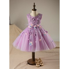 A-Line/Princess Knee-length Flower Girl Dress - Polyester/Cotton Sleeveless Scoop Neck With Flower(s)/Sequins