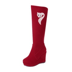 Women's Suede Wedge Heel Knee High Boots shoes