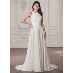 A-Line/Princess Scoop Neck Court Train Chiffon Wedding Dress With Ruffle