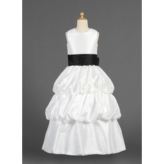 A-Line/Princess Floor-length Flower Girl Dress - Taffeta Sleeveless Scoop Neck With Sash/Flower(s)/Bow(s)/Pick Up Skirt