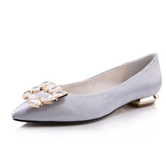Satin Flat Heel Flats Closed Toe With Rhinestone shoes