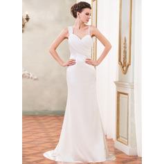 Trumpet/Mermaid Sweetheart Watteau Train Chiffon Charmeuse Wedding Dress With Ruffle Beading