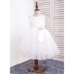 Ball Gown Knee-length Flower Girl Dress - Cotton Sleeveless Scoop Neck With Flower(s)/Sequins