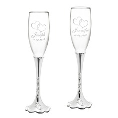 Personalized Glass Toasting Flutes (Set of 2)