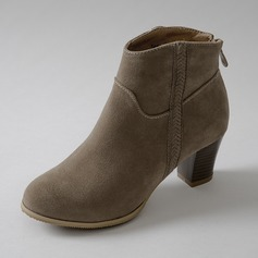 Women's Suede Chunky Heel Ankle Boots Martin Boots With Zipper Split Joint shoes
