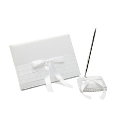 Pure Satin Bow Guestbook/Pen Set