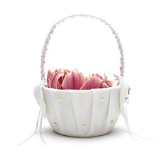 Beautiful Flower Basket in Satin With Bow/Faux Pearl