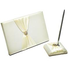 Beautiful Satin Rhinestones Guestbook/Pen Set