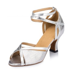 Women's Leatherette Heels Sandals Latin With Animal Print Dance Shoes