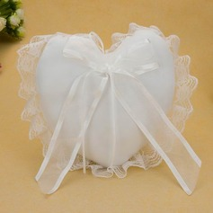 Heart Shaped Ring Pillow in Satin With Knot