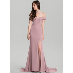 Sheath/Column Off-the-Shoulder Sweep Train Satin Evening Dress (017126594)