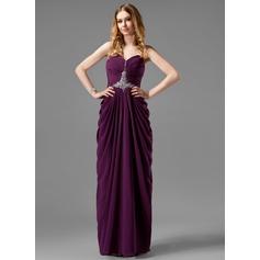 Sheath/Column Sweetheart Floor-Length Chiffon Prom Dress With Ruffle Beading