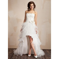 A-Line/Princess Strapless Asymmetrical Organza Prom Dress With Lace Beading Flower(s)
