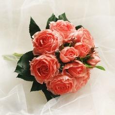 Bright Round Satin Bridesmaid Bouquets