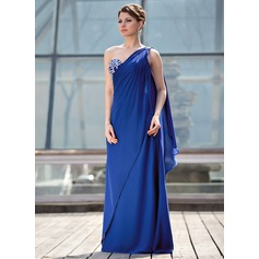 A-Line/Princess One-Shoulder Floor-Length Chiffon Mother of the Bride Dress With Beading