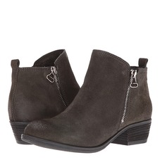 Women's Suede Chunky Heel Closed Toe Ankle Boots With Zipper shoes