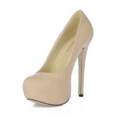 Leatherette Stiletto Heel Pumps Platform Closed Toe shoes