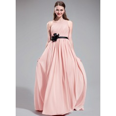 A-Line/Princess One-Shoulder Sweep Train Chiffon Bridesmaid Dress With Ruffle Sash Flower(s)