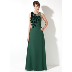 Sheath/Column Scoop Neck Floor-Length Chiffon Mother of the Bride Dress With Ruffle Beading Flower(s)