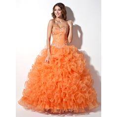 Duchesse-Linie Herzausschnitt Bodenlang Organza Quinceañera Kleid (Kleid für die Geburtstagsfeier) mit Perlen verziert Applikationen Spitze Pailletten Gestufte Rüschen