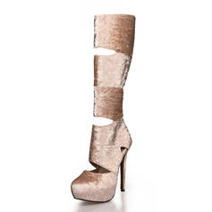 Women's Suede Stiletto Heel Knee High Boots shoes