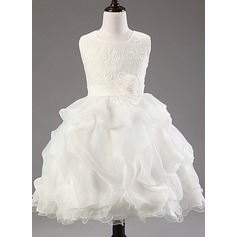 Ball Gown Knee-length Flower Girl Dress - Cotton Blends Sleeveless Scoop Neck With Flower(s)