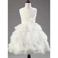 Corte de baile Hasta la rodilla Vestidos de Niña Florista - mezcla de algodón Sin mangas Escote redondo con Flores