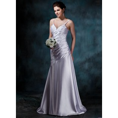 A-Line/Princess V-neck Court Train Charmeuse Wedding Dress With Ruffle