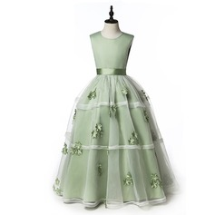Ball Gown Floor-length Flower Girl Dress - Organza/Satin/Cotton Sleeveless Scoop Neck With Appliques