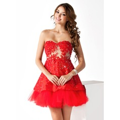 A-Line/Princess Sweetheart Short/Mini Taffeta Cocktail Dress With Lace Beading
