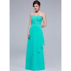 Sheath/Column Sweetheart Floor-Length Chiffon Bridesmaid Dress With Cascading Ruffles