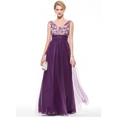 Empire V-neck Floor-Length Tulle Prom Dress With Ruffle Beading Appliques Lace Sequins