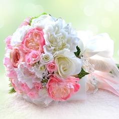 Elegant Round Ribbon/Metal/Silk linen Bridal Bouquets/Bridesmaid Bouquets