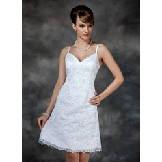 Sheath/Column Sweetheart Knee-Length Lace Wedding Dress With Beading Sequins