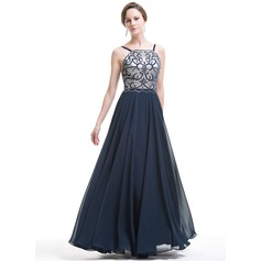 A-Line/Princess Square Neckline Floor-Length Chiffon Evening Dress With Beading Appliques Lace Sequins